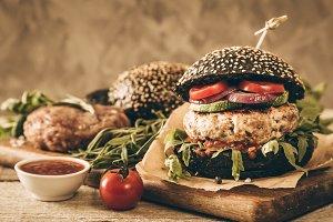 Black burger and ingredients