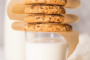 Stack of cookies on milk glass