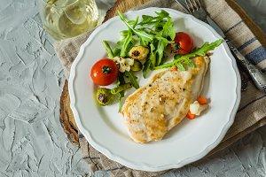 Lunch - chicken steak with vegetables