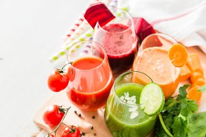 Selection of colorful vegetable juice in glasses