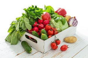 Selection of fresh vegetables from farmers market