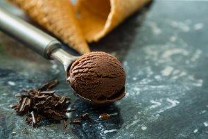 Chocolate ice cream in scoop