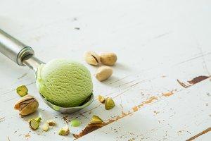Pictachio ice cream in scoop