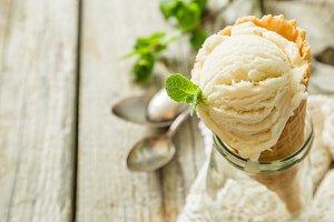 Vanilla ice cream in waffle cone