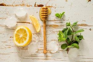 Lemonade ingredients on white background