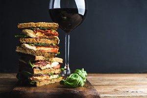 Caprese sandwich or panini