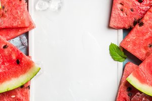 Sliced watermelon & ceramic board
