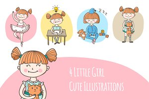 Cute Little Girl Illustrations