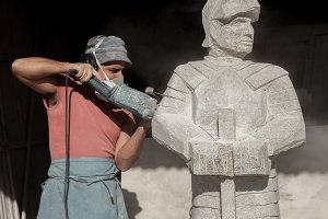 Sculptor making a knight