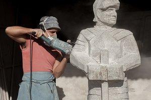 Sculptor making a knight