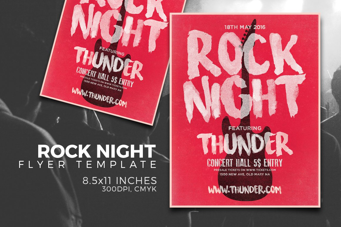 Rock Night Typography Flyer Template Creative Daddy