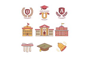 Education emblems and buildings