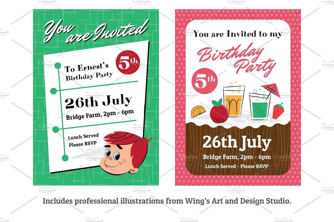 Retro Children\'s Party Invitations - Invitation Templates | Creative ...
