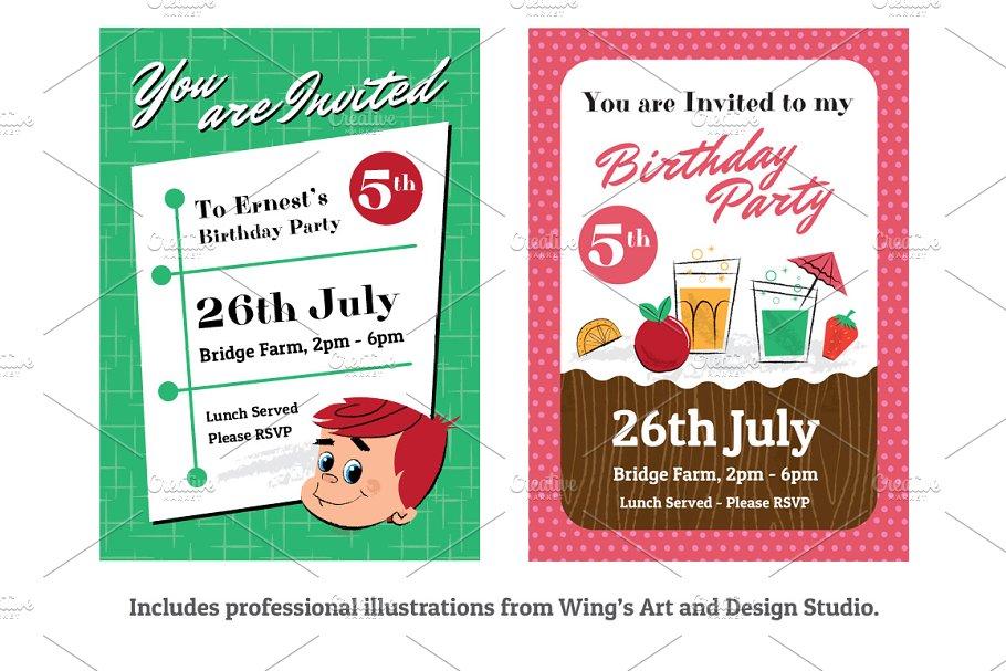 Retro Children\'s Party Invitations - Invitation Templates | Creative ...