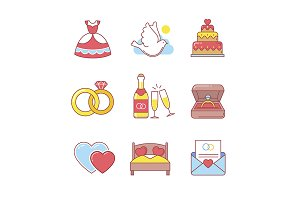 Wedding and marriage icons