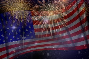 Fireworks Independence day concept