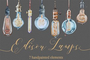 Edison Lamps Watercolor Clipart