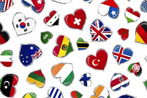 Heart shaped flags on white pattern