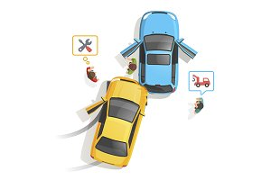 Car traffic accident top view