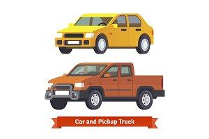 Pickup truck and sedan