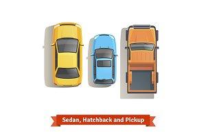 Sedan, hatchback cars and pickup