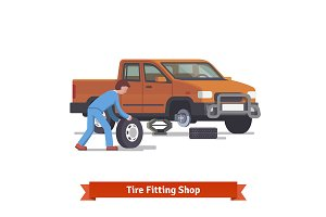 Tire fitting shop and Car mechanic
