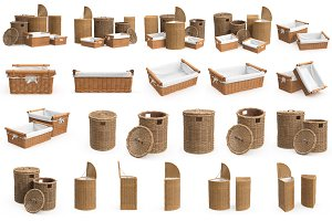 Set wicker baskets, isolated
