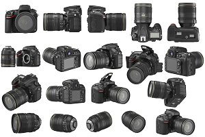 Set digital photo camera, isolated