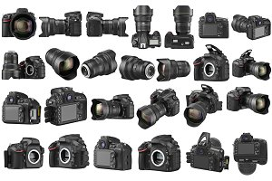 Set digital DSLR camera, isolated