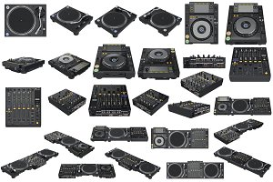 Set table dj equipment, isolated