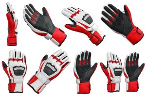 Set skiing sports gloves, isolated