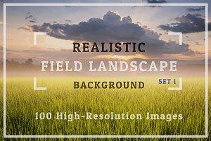 100 Realistic Field Landscape Set 1