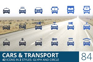 Cars & Transport Glyph Icons
