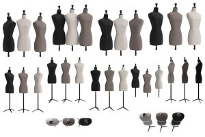 Set female mannequins, isolated