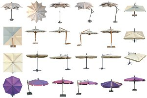 Set beach umbrella, isolated