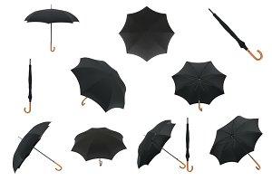 Set classic umbrella, isolated