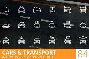 Cars & Transport Line Icons