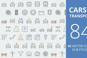 Cars & Transport Color Icons