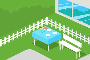 Picnic Isometric Table with Dishes