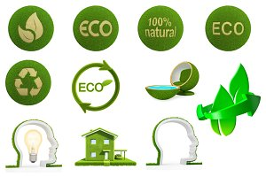 Set eco friendly, isolated