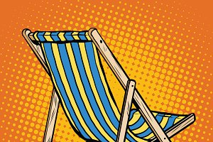 deck chair striped blue beach