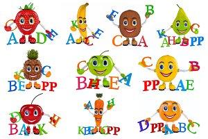 Set fruit cartoon characters