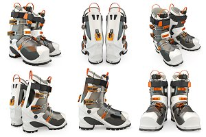 Set ski boots, isolated