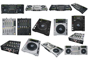 Set Dj musical equipment, isolated