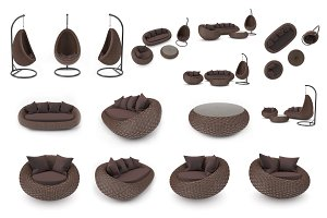 Set rattan furniture, isolated