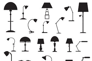 Set of icons table lamps