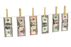 Dollars on clothespins