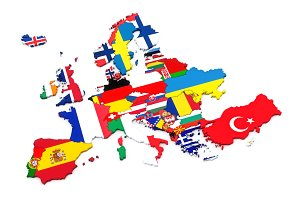 European countries 3d render