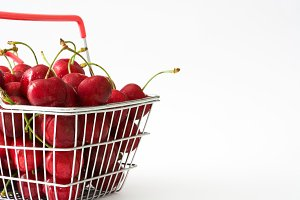 Cherries in a shopping basket