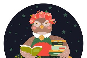 Cute owl holding stack of books